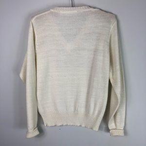 Vintage Sweaters - Vintage Gold Metallic Sweater V Neck Seagull 686